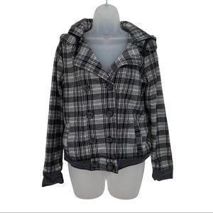 Chor Gray Black Plaid Jacket Hoodie Button Peacoat